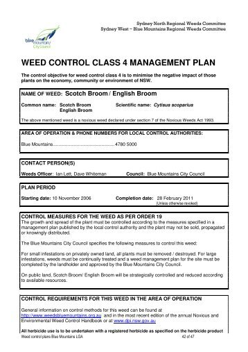 WEED CONTROL CLASS 4 MANAGEMENT PLAN - Weeds of Blue ...