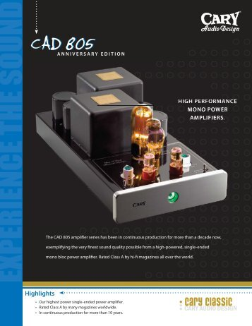 CAD 805.indd - Cary Audio Design