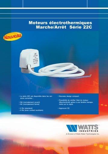 Moteurs électrothermiques Marche/Arrêt Série 22C - Watts Industries