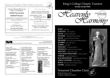 to view the concert programme - Somerset Chamber Choir