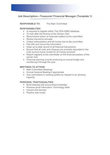 Treasurer/Financial Manager Job Description   Ontario Soccer .