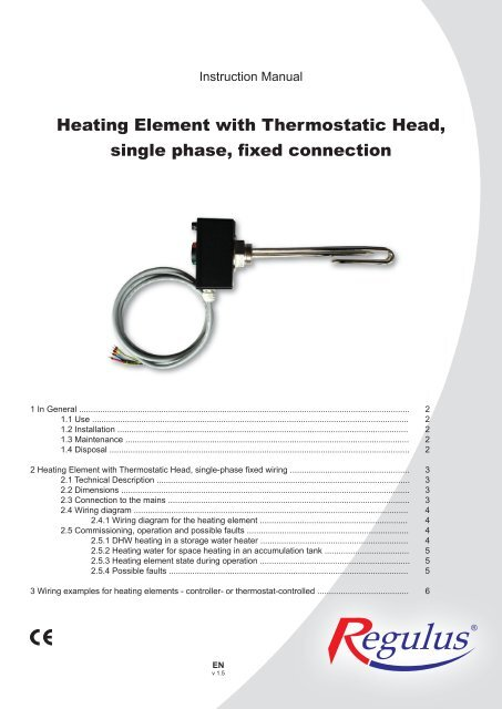 Heating Element With Thermostatic Head Single Ambient Instal
