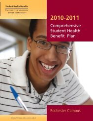 2010-2011 Full Benefits Summary - Office of Student Health Benefits
