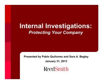An Employer's Guide to Effective Internal Investigations - Reed Smith