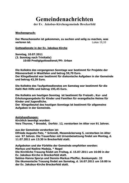 Gemeindenachrichten Ev Jakobus Kirchengemeinde Breckerfeld