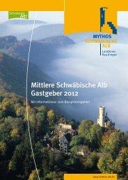 Mittlere Schwäbische Alb Gastgeber 2012 - Mythos Schwäbische Alb