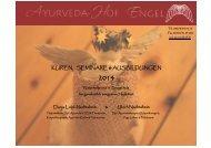 KUREN, SEMINARE & AUSBILDUNGEN - Ayurvedahof Engel