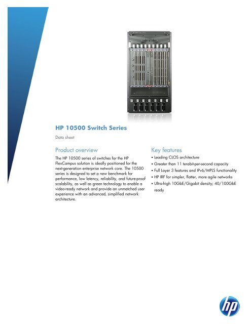 HP 10500 Switch Series - HP Networking