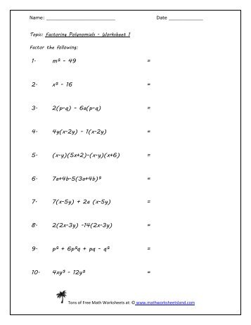 math worksheet : math 070 exponents and polynomials worksheet simplify 1 21x y  : Math Worksheets Factoring