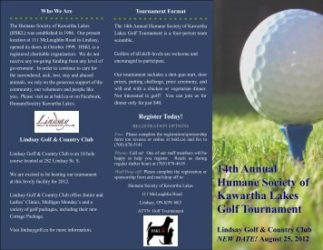 14th Annual Humane Society of Kawartha Lakes Golf Tournament