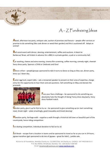 A Z Of Fundraising Ideas