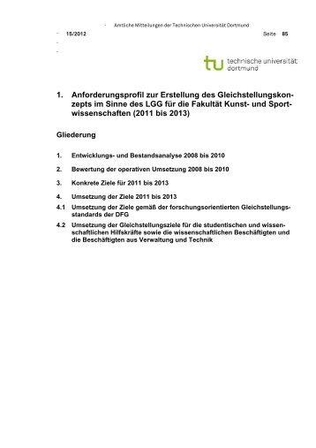 und Sportwissenschaften 2011 - 2013 - TU Dortmund