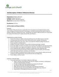 Job Description: Children's Ministries Director . - College Park Church