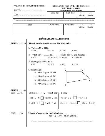 Đề kiểm tra cuối kỳ 1 lớp bốn - Nguyễn Bỉnh Khiêm