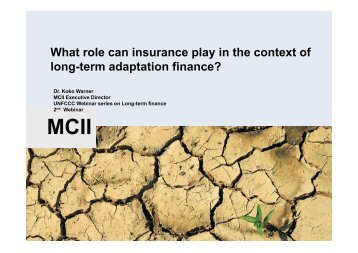 What role can insurance play in the context of long-term adaptation ...