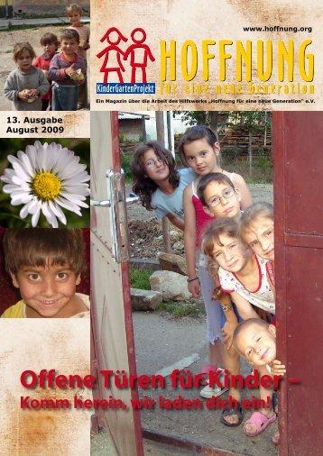 Offene Türen für Kinder – - bei Hoffnung für eine neue Generation eV