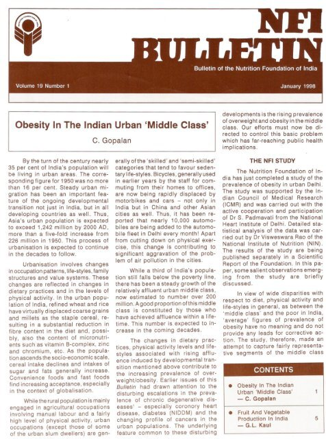 Obesity In The Indian Urban 'Middle Class' - Nutrition Foundation of ...