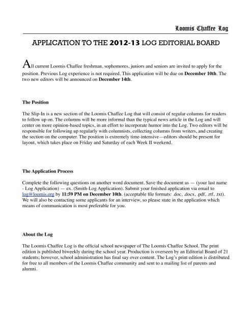 Slip In Editors Application - The Loomis Chaffee School