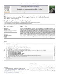 Management and recycling of waste glass in concrete products ...