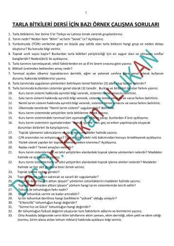 tarla bitkileri dersi için bazı örnek çalışma soruları