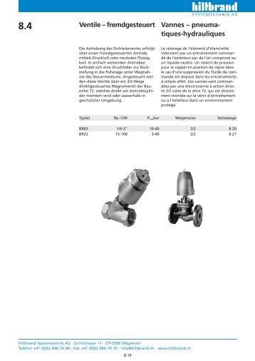 Electrovannes à commande pneumatiques / hydrauliques