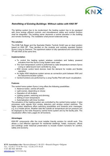 Retrofitting of Existing Buildings: Without cables with KNX RF