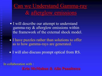 Can we understand gamma-ray & afterglow emissions?