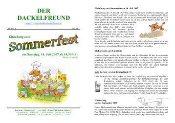Der Dackelfreund - Nr. 3/2007 - Teckelklub Wiesbaden/ Mainz