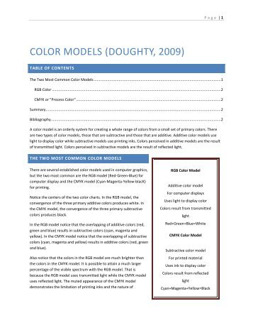 COLOR MODELS (DOUGHTY, 2009)