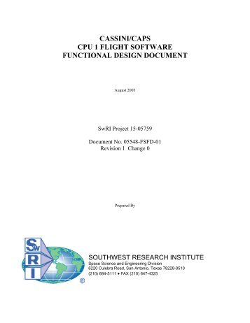 cpu 1 flight software functional design document - CAPS - Southwest ...