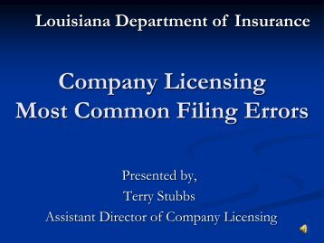 Company Licensing Session - Louisiana Department of Insurance