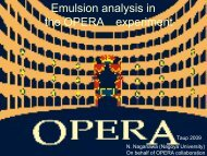 Emulsion analysis in the OPERA experiment - TAUP 2009 - Infn