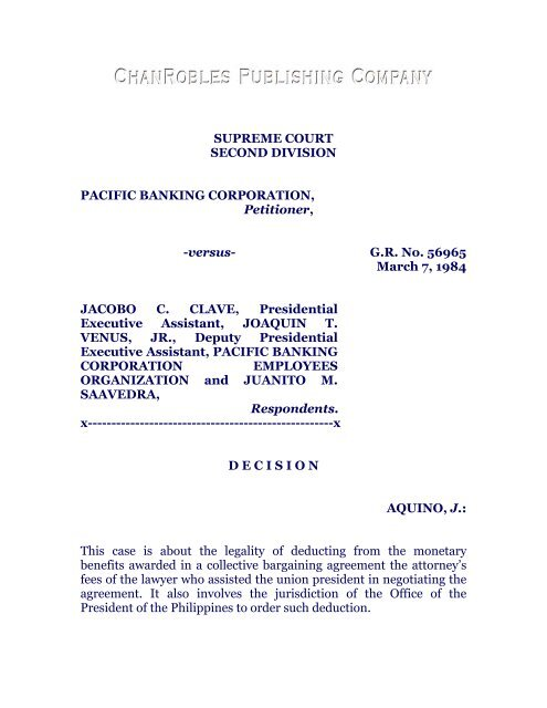Pacific Banking Corporation Vs Clave