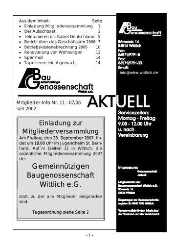 Gemeinnützigen Baugenossenschaft Wittlich e.G.