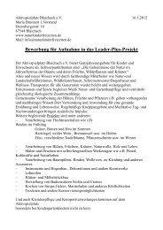 Bewerbung für Aufnahme in das Leader-Plus-Projekt
