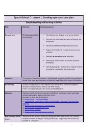 Special School C - Lesson 1: Creating a  personal care plan - NCCA