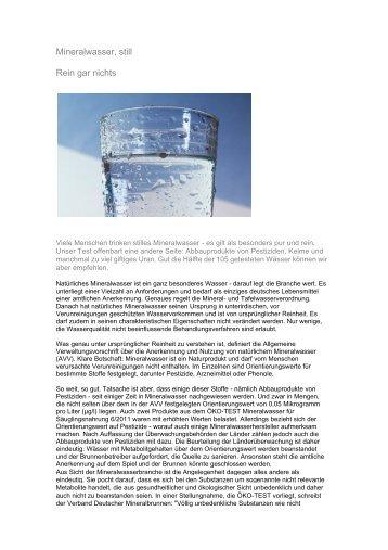Mineralwasser, still Rein gar nichts
