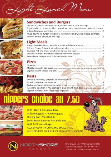 Nippers Choice all 7.50 Light Lunch Menu - North Shore Tavern