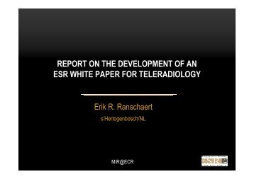 Report on the development of an ESR White Paper for ... - MIR-Online