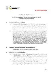 Ergänzende Bestimmungen zur AVBEltV - Stadtwerke Bad Tölz GmbH