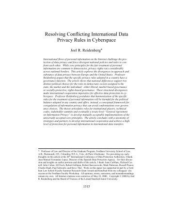 Resolving Conflicting International Data Privacy Rules ... - Reidenberg