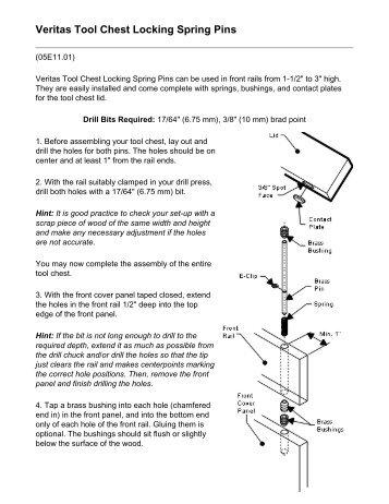 Lee Valley Tools - Veritas Tool Chest Locking Spring Pins