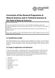 Curriculum of the Doctoral Programme in Natural Sciences and in ...