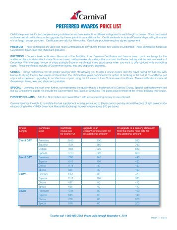 Preferred AwArds PrICe LIsT - Carnival Cruise Lines