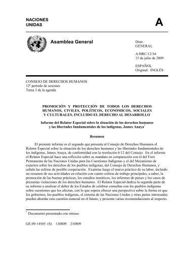 Informe del Relator Especial sobre la situación de los ... - Acnur