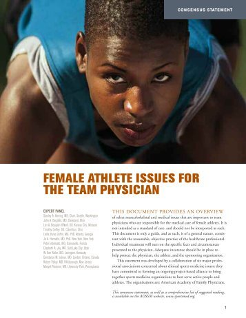 female athlete issues for the team physician - Reingoldweb.com