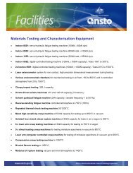 list of equipment in materials assessment - ainse