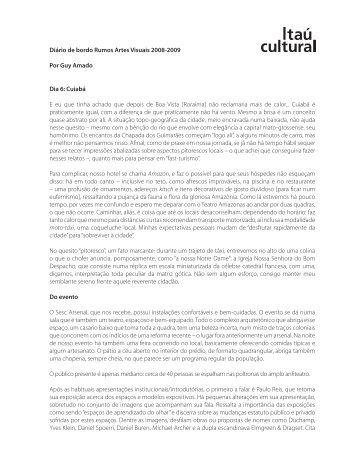 Diário de bordo Rumos Artes Visuais 2008-2009 Por ... - Itaú Cultural
