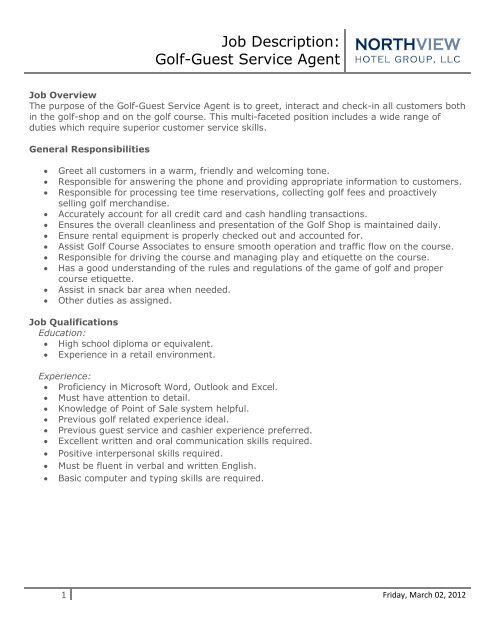 Job Description: Golf-Guest Service Agent - Eagle Crest Resort
