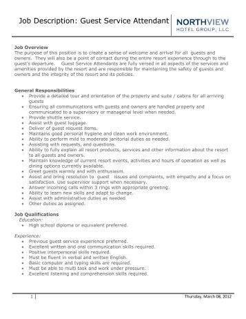 Slot attendant job description